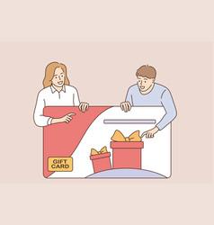 customers gift card bonus concept vector image