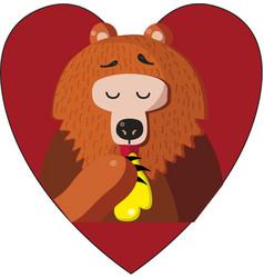 cute cartoon bear eating vector image