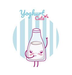 Cute yoghurt kawaii cartoon vector
