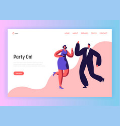 Dance party happy people couple landing page vector