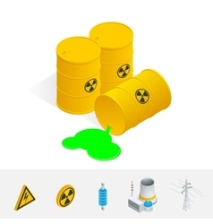 Debris Atomic Energy Danger radiation Flat 3d vector image