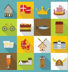 Denmark travel icons set flat style vector