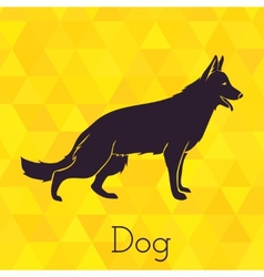 Dog silhouette on triangles background vector
