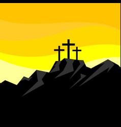 Easter three crosses on calvary vector