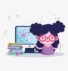 Education online student girl with stack books vector