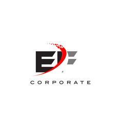 ef modern letter logo design with swoosh vector image
