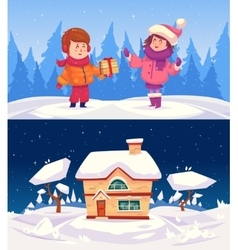 Family house Merry Christmas vector