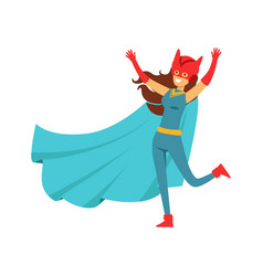 Female superhero in comics costume with cape and vector