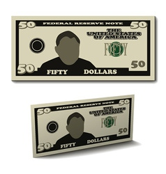 Fifty dollar paper bill banknote vector