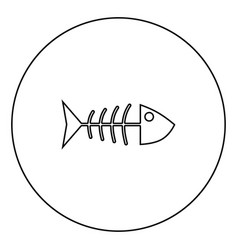 fish sceleton black icon outline in circle image vector image
