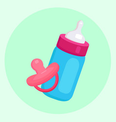 flat of baby bottle and pacifier for your cr vector image