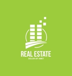 Flat real estate green building logo vector