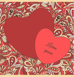 Floral doodle ethnic pattern hearts frame vinous vector