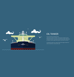 Front view of oil tanker banner vector