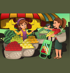 Fruit seller at the farmers market with a customer vector