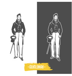 Gentlemans black and white objects vector
