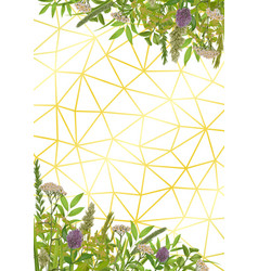 Geometric background with greenery vector