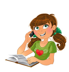 Girl and phone and book vector