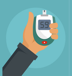 glucometer in hand background flat style vector image