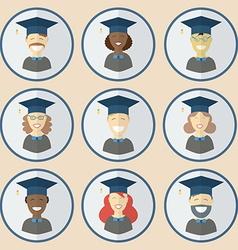 Graduation Man and Women Education Icon Set vector image