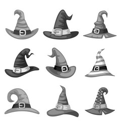 Grayscale blank cartoon witch hat halloween party vector