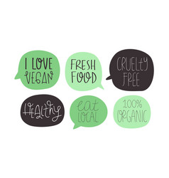 green vegan and vegetarian healthy food quote set vector image