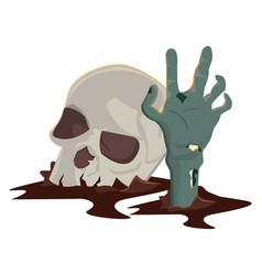 Halloween skull head with zombie hand vector