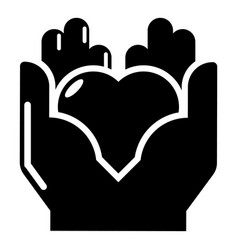 hand heart icon simple black style vector image