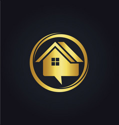 house sale communication gold logo vector image