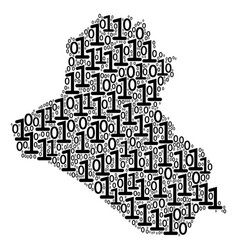 iraq map collage of binary digits vector image
