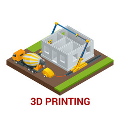 isometric 3d printing house concept vector image