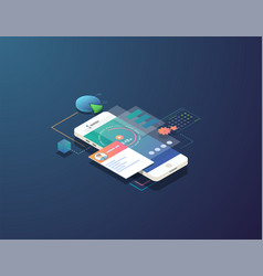 isometric mobile time management vector image