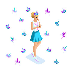 isometry set of young girls teenagers generation vector image