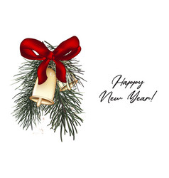 jingle bells christmas card with pine branch red vector image