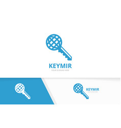key and planet logo combination lock and vector image