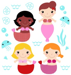 Little cute colorful Mermaids set vector