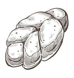 Loaf sweet bread for dessert bakery sketch vector