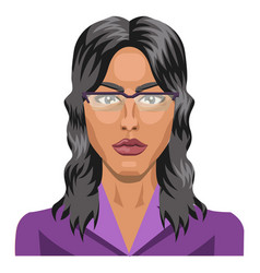 long haired girl wearing glasses on white vector image