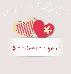 love card cute hearts and a text message design vector image