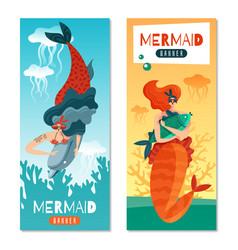 mermaids life banners vector image