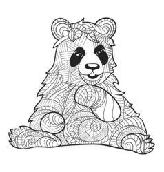 Monochrome hand drawn zentagle of panda bear vector
