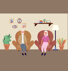 old woman and man in chair with plants vector image