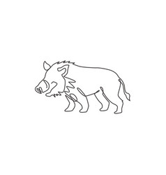 One continuous line drawing savage common vector