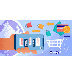 Online shopping and chat on mobile phone screen vector