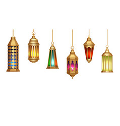 Oriental lamps arab lanterns hang on gold chains vector
