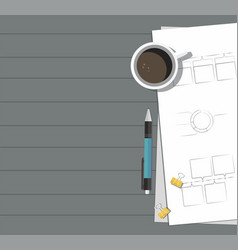Paper with pen coffee on the table vector