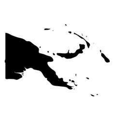 papua new guinea - solid black silhouette map of vector image