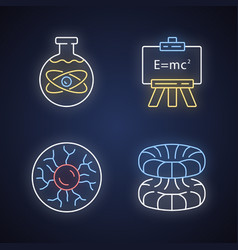 Physics branches neon light icons set chemical vector