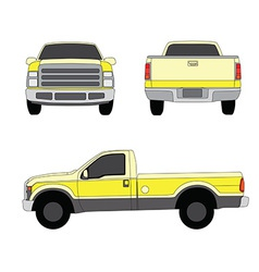 Pick-up truck yellow three sides view vector image