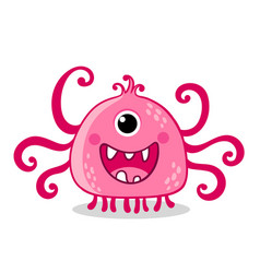 Pink alien with one eye is smiling on a white vector